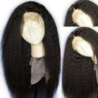 Yaki Kinky Straight Full Wigs Malaysian Virgin Human Hair Lace Front Wig Black #
