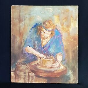 Portrait by Listed Artist Lillian Sutherland, 'The Potter' in Oils.