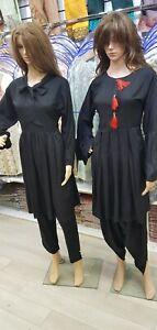 Stitched Ladies Shalwar Kameez Black Linen Pakistani Indian Kurta Salwar