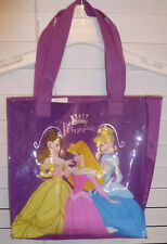 DISNEY 3 PRINCESS SPARKLE TOTE PURSE~NEW~PURPLE HAND BAG GIRLS ACCESORY PURSE