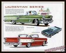 Wall Art  Vintage 1958 Pontiac Laurentian Series  Dealer Brochure Page  11x14