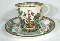 Antique COALPORT ENGLAND DEMITASSE Cup and Saucer Ivory Florals Tree Gold 1900
