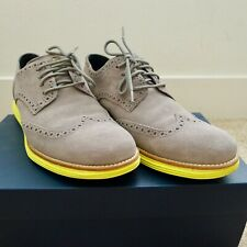 Cole Haan Lunargrand Men's Shoes Grey Suede with Yellow Bottom US Size 10 M