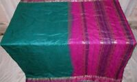 Pure silk Antique Vintage Sari EXOTIC 4Y S18 369 Green Magenta UK #ABGNQ