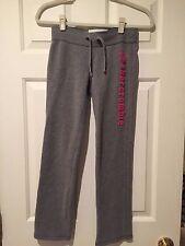 Abercrombie Kids Gray Sweat Pants w/Pink Logo - Girls Size M (10) - EUC