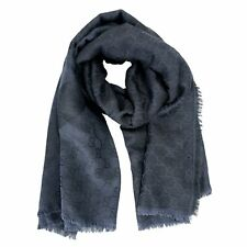 Gucci Wool Silk Gray Patterned Unisex Scarf