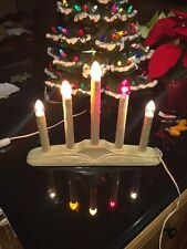 2 Vintage Christmas 5 tier Electric Candolier Light Candle Window Fast Ship!