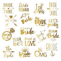 Bachelorette Party Tattoos, Hen's night temporary tattoos,Team Bride,Bride Squad
