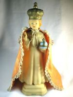 "UNIQUE VINTAGE SOFT PLASTIC 11"" INFANT JESUS OF PRAGUE STATUE WITH CAPE-CATHOLIC"