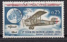 TIMBRE MONACO OBL N° 645    AVIATION TOUR DU MONDE PAR 4 EQUIPAGES AMERICAIN