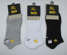 3 Pairs Burberry Logo Men's Ankle Socks Low Cut Crew Soft Casual Sport Socks
