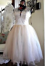 Lipsy VIP Cream Beige Embellished Floral Prom Tulle Lace Skater Dress Size 10