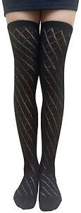 AM Landen LADIES' BLACK Over-Knee High Socks Knitted Cotton Raffle Socks#B
