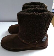 Guess Winter Boots Faux Fur Lined Trim Size UK  6 Brown Ladies Womens