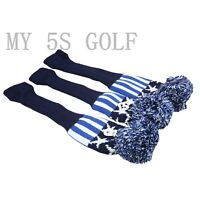 New 3pcs Golf Pom Pom Knit Headcover Fairway Woods Driver Hybrid Head Covers