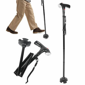 LED Walking Stick All Terrain Pivoting Base Foldable Travel Quad Cane Anti-Slip
