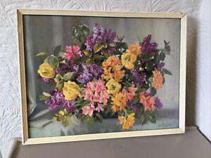 Vintage Nikolsky Still Life Flower Print White Wood Frame-Azaleas & Lilac #6447