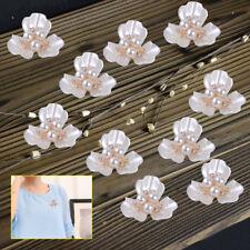 10pcs Faux Pearl Flower Crystal Rhinestone Shank Button Sewing Craft Decoration