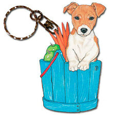 Jack Russell Terrier Keychain Key Ring Wooden Smooth