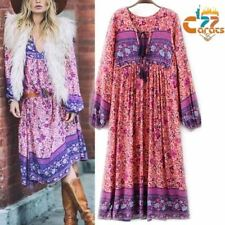 Vintage 70s Hippie INDIA ETHNIC Dashiki Festival BOHO Floral Bib Midi Mini DRESS