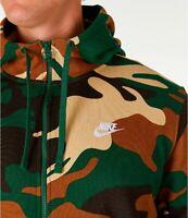 Nike Sportswear Full Zip Hoodie Green Fossil Camo Sweatshirt MD LG XL AV5940-341