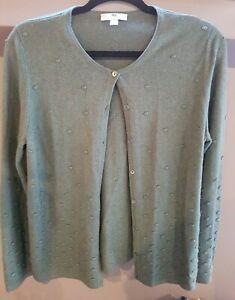 Peter Hahn Cashmere Silk Ladies Cardigan 14 Sage Green  spotty