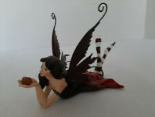 Forest Fairy Laying With Magical Gem Metal Wings Collectible Figurine
