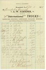 1919 Womelsdorf Pennsylvania International Trucks dealer letterhead gas engines