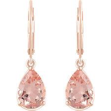 1ct Pear Cut Champagne Morganite Tear Drop Stud Earring Women 14k Rose Gold Over