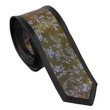 23c3f63dc0e9 Coachella Ties Shiny Gold with Gray Floral Black Border Necktie Skinny Tie  6cm