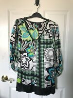 Karen Kane Womens Colorful Top With Mid-way Sleeves Size: Medium 100% Silk
