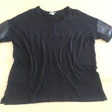 Gorgeous Black Witchery T-Shirt With Leather Sleeves Size: L Excellent Cond