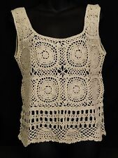 Vintage Crochet Tank Top by Kroshetta Off White Women's Medium Large Sleeveless