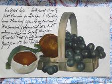 Obst Korb Orangen Trauben Gemälde Kunstwerk Postkarte Ansichtskarte 3049