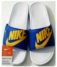 Nike Mens Sandals Slides Blue Yellow White JDI print size 13 New UCLA Colorway