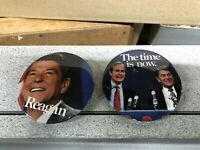 OFFICIAL Ronald Reagan for President & Oversized Reagan Photo Pins NM+ set of 2