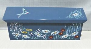 "Hand Painted Wall Mount Metal MAILBOX 6""x15"" Hummingbird & Flowers"