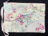 PRETTY!  Crzy~Patched  HM zip pouch Heavily stitched with lovely threads