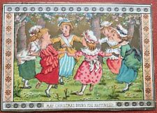 Kate Greenaway / Christmas Card from her Medieval Children Series Six girls
