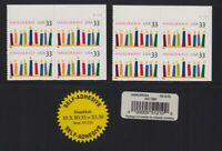1999 Hanukkah Sc 3352 MNH lot of 2 plate blocks with labels