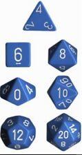 Chessex dice poliédricas 7 Die Set-Opaco Luz Azul/Blanco-DND-Sin Caja