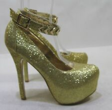 "NEW Womens Gold Glitter 6"" High Stiletto Heel 2"" Platform Sexy Shoes Size 8.5"