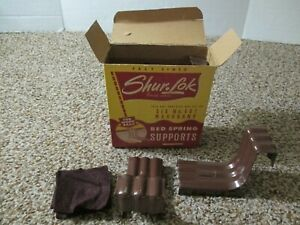 VINTAGE ORIGINAL SHUR LOK BED SPRING SUPPORTS WITH BOX 6 METAL SUPPORTS NO. 401