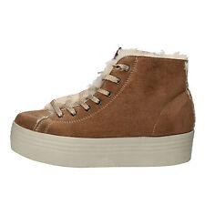 scarpe donna 2 STAR 40 sneakers marrone velluto pelliccia glitter AE615-D