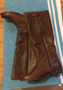 CLARKS LADIES KRISTY BOMBAY KNEE HIGH CHOC LEATHER RIDING FLAT BOOTS UK 5 D / 38
