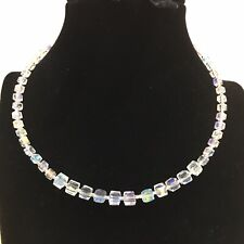 New Handmade Clear White AB Crystal Glass Necklace, party accessory, UK