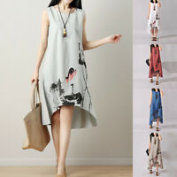 Women Sleeveless Round Collar Ink Print Chinese Style Summer Loose Dress Plus