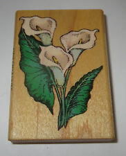 Calla Lilies Rubber Stamp Comotion Retired Rare Wood Mounted Lily Flowers