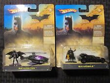 2005 Hot Wheels Batman Batcopter & Batmobile w/ Figure Moc Lot of 2