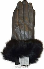 Leather Gloves, Real Fox fur, (L) Women's Gloves, Warm Lined Winter Dress Gloves